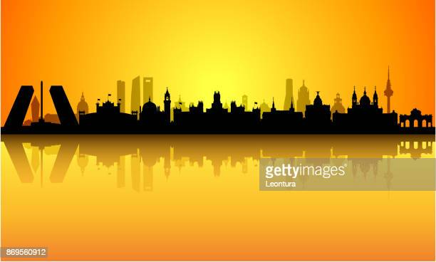 madrid sunrise (all buildings are complete and moveable) - madrid stock illustrations