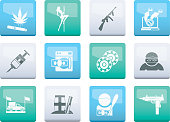Mafia and organized criminality activity icons over color background