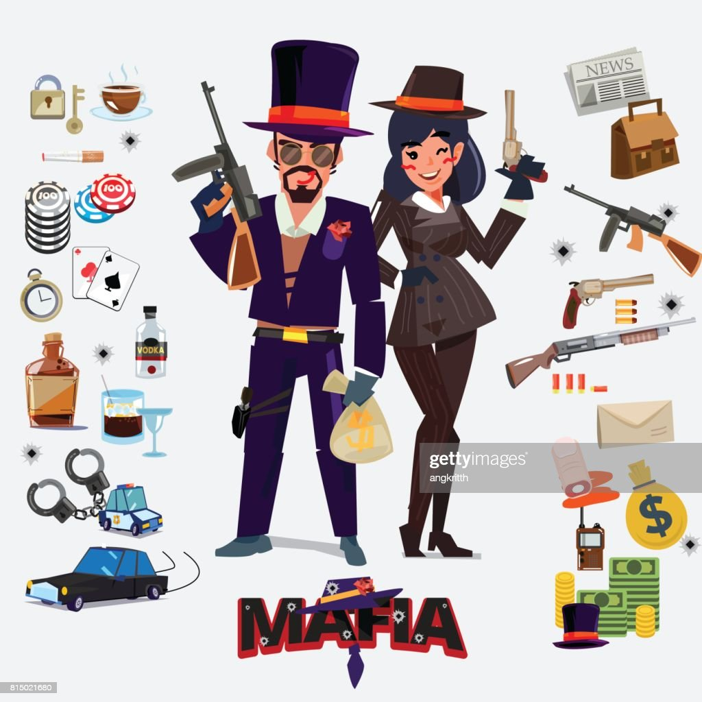 Mafia character design, male and female with icon set. underground gangster concept - vector
