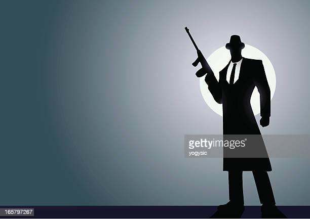 ilustraciones, imágenes clip art, dibujos animados e iconos de stock de mafia silhoutte - submachine gun