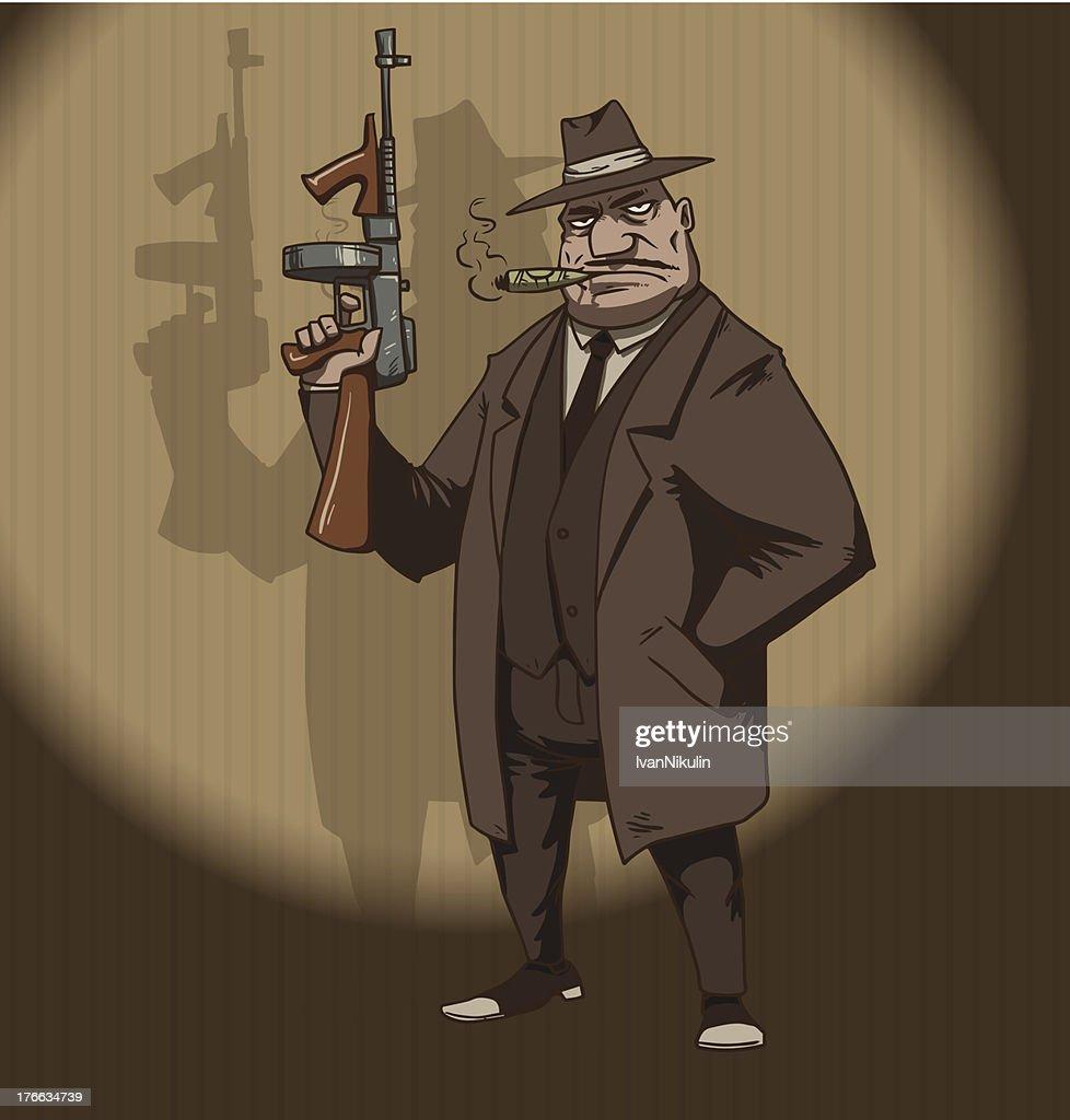 Mafiosi with a machinegun