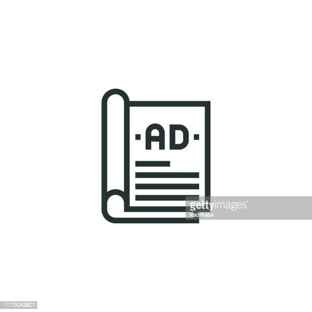 magazin anzeigen linie symbol - zeitschrift stock-grafiken, -clipart, -cartoons und -symbole