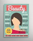 Magazine cover template about beauty, fashion and health for women