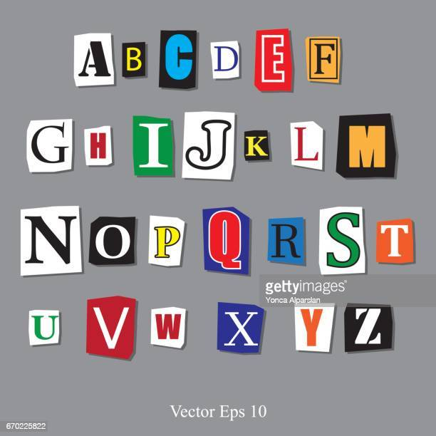 magazine letters - alphabet stock illustrations