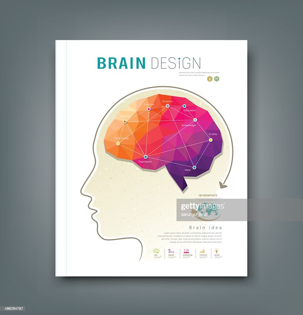 Magazine skull and brain for business design