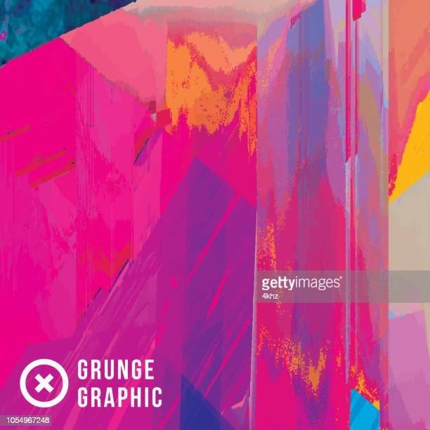Magenta And Yellow Digital Glitch Abstract Grunge Background