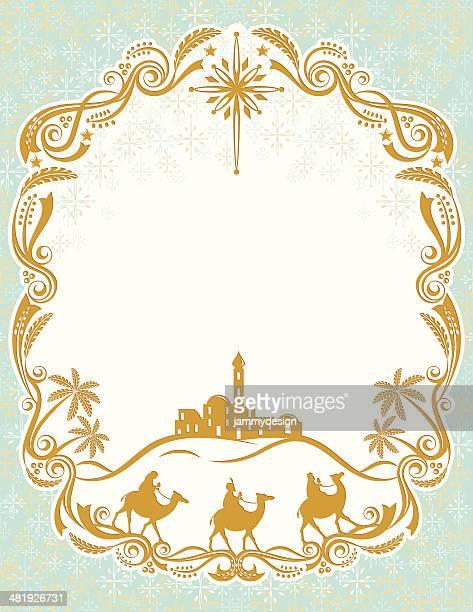 ilustraciones, imágenes clip art, dibujos animados e iconos de stock de reyes magos tarjeta de navidad - los tres reyes magos