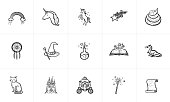Magic and fairytale theme sketch icon set