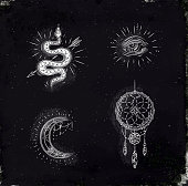 Magic and mystic signs dreamcatcher chalk