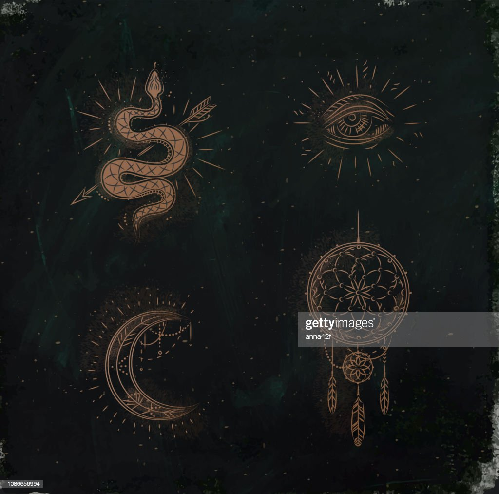 Magic and mystic signs dreamcatcher green