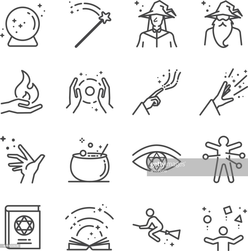 Magic and spell icons set