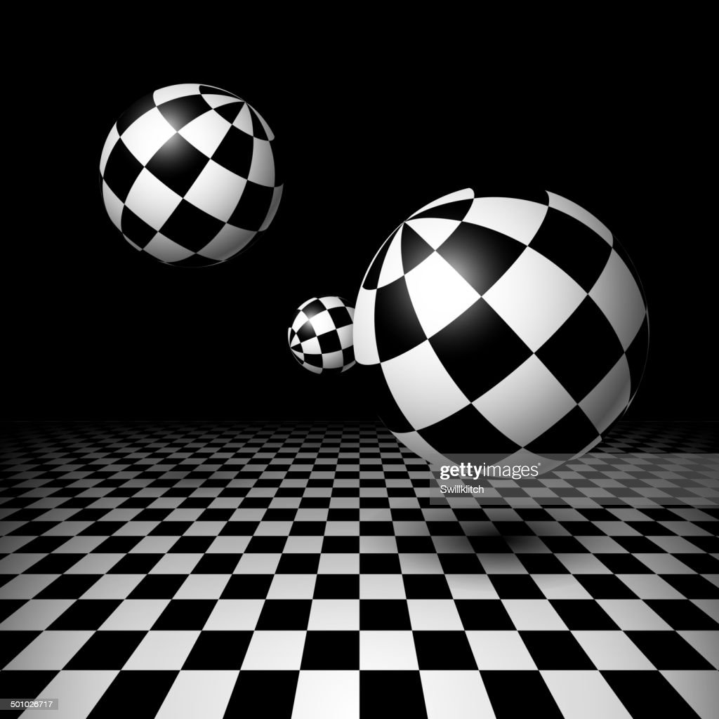 Magic balls over the checkered floor