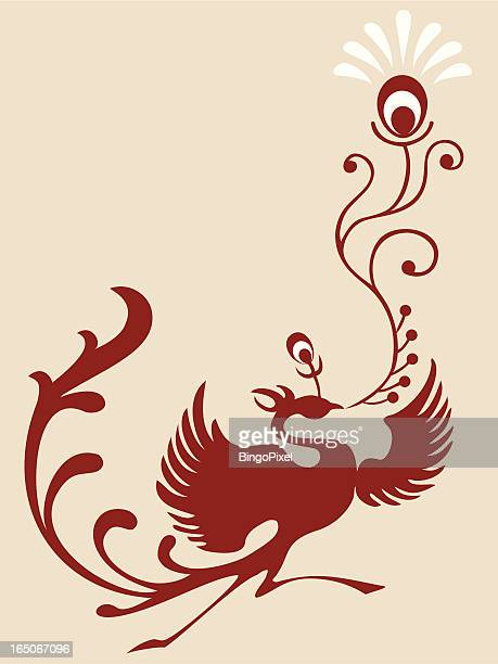 magic bird & feather - phoenix mythical bird stock illustrations, clip art, cartoons, & icons