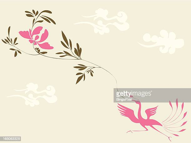 magic bird & plant - phoenix mythical bird stock illustrations, clip art, cartoons, & icons