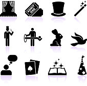 magic black and white royalty free vector icon set