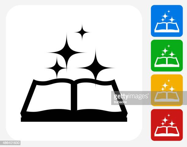 Magic Book Icon Flat Graphic Design