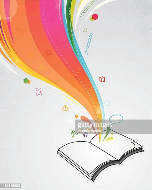 ilustrações, clipart, desenhos animados e ícones de magic livro - aberto