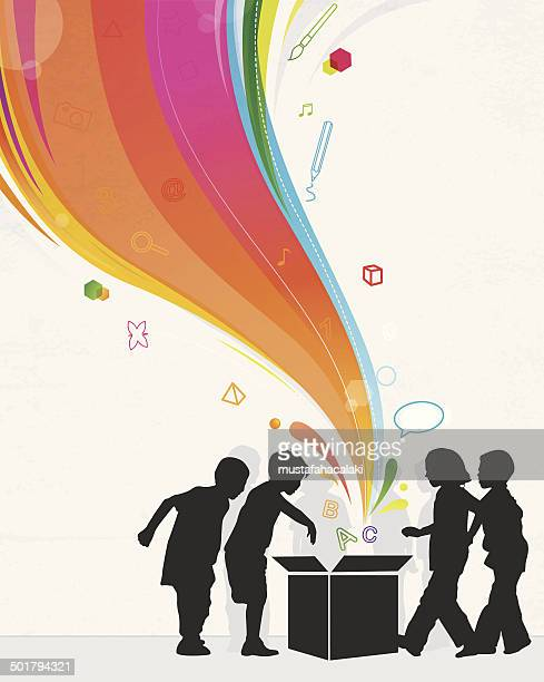 Magic box com arco-íris e crianças silhuetas