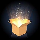 Magic cardboard box with light
