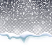 Magic Christmas snowfall. Falling snow on a transparent background. Winter snowstorm backdrop. Vector illustration