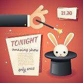 Magic circus show hand holding wand poster template stylish background retro cartoon design vector illustration