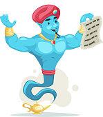Magic contract arabian genie turban magic lamp smoke cartoon character wish vector illustration