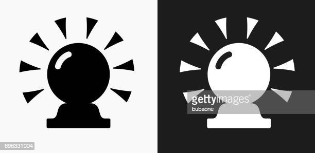 Magic Crystal Ball Icon on Black and White Vector Backgrounds