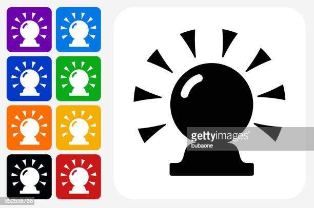 Magic Crystal Ball Icon Square Button Set