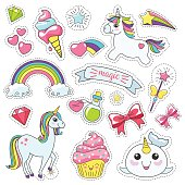 Magic cute unicorn, stars on the clouds poster, greeting card, vector illustration.