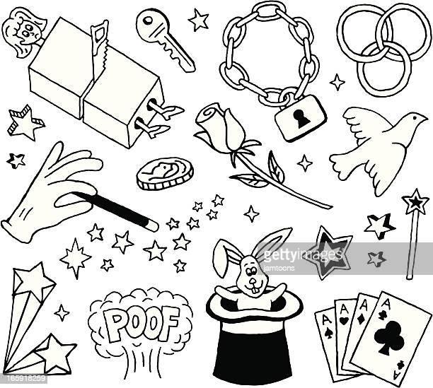 magic doodles - magician stock illustrations, clip art, cartoons, & icons