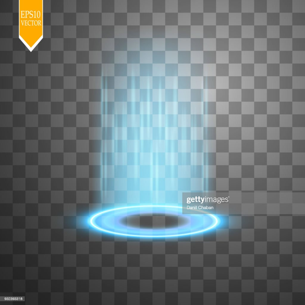 Magic fantasy portal. Futuristic teleport. Light effect. Blue candles rays of a night scene with sparks on a transparent background. Empty light effect of the podium. Disco club dancefloor