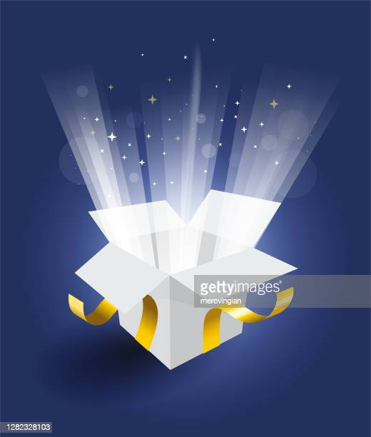 magic gift box on blue background - gift box stock illustrations