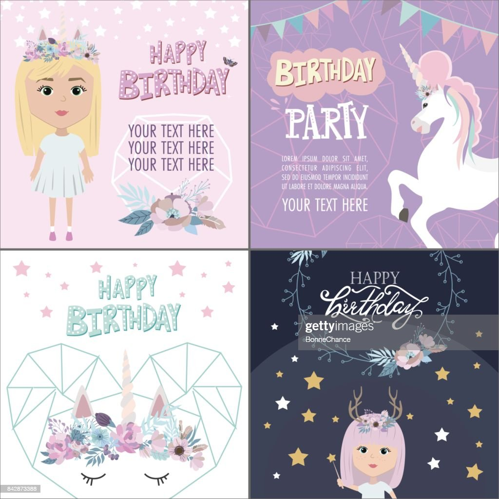 Magic Happy Birthday Greeting Cards Vector Art Getty Images