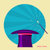 Magic hat and magic wand.Vector label for design