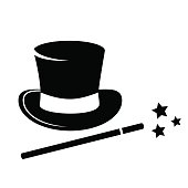 Magic hat and wand icon.
