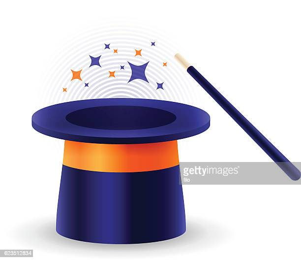 magic hat and wand - prop stock illustrations