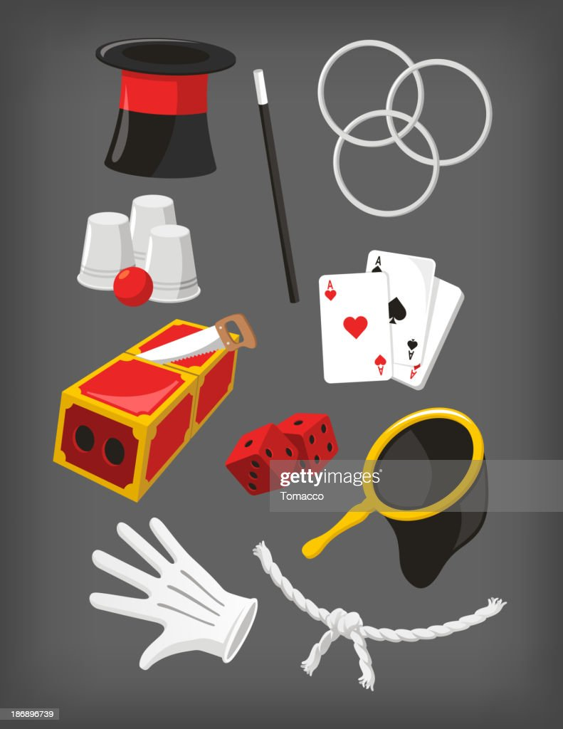 Magic Icon Set Top Hat Hoop Wand Dice Gloves Cards