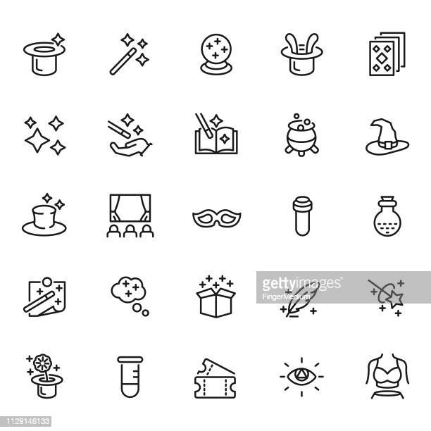 magic icon set - hat stock illustrations
