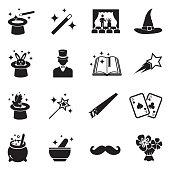 Magic Icons. Black Flat Design. Vector Illustration.