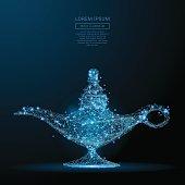magic lamp low poly blue