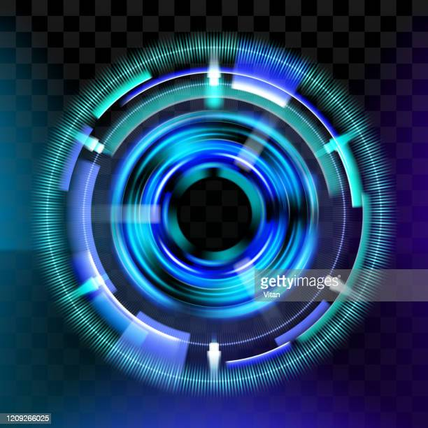 magic light effects. illustration isolated on dark background. mystical portal. bright sphere lens. rotating lines. glow ring. magic neon ball. abstract design logo. vector. eps10 - halo symbol stock illustrations