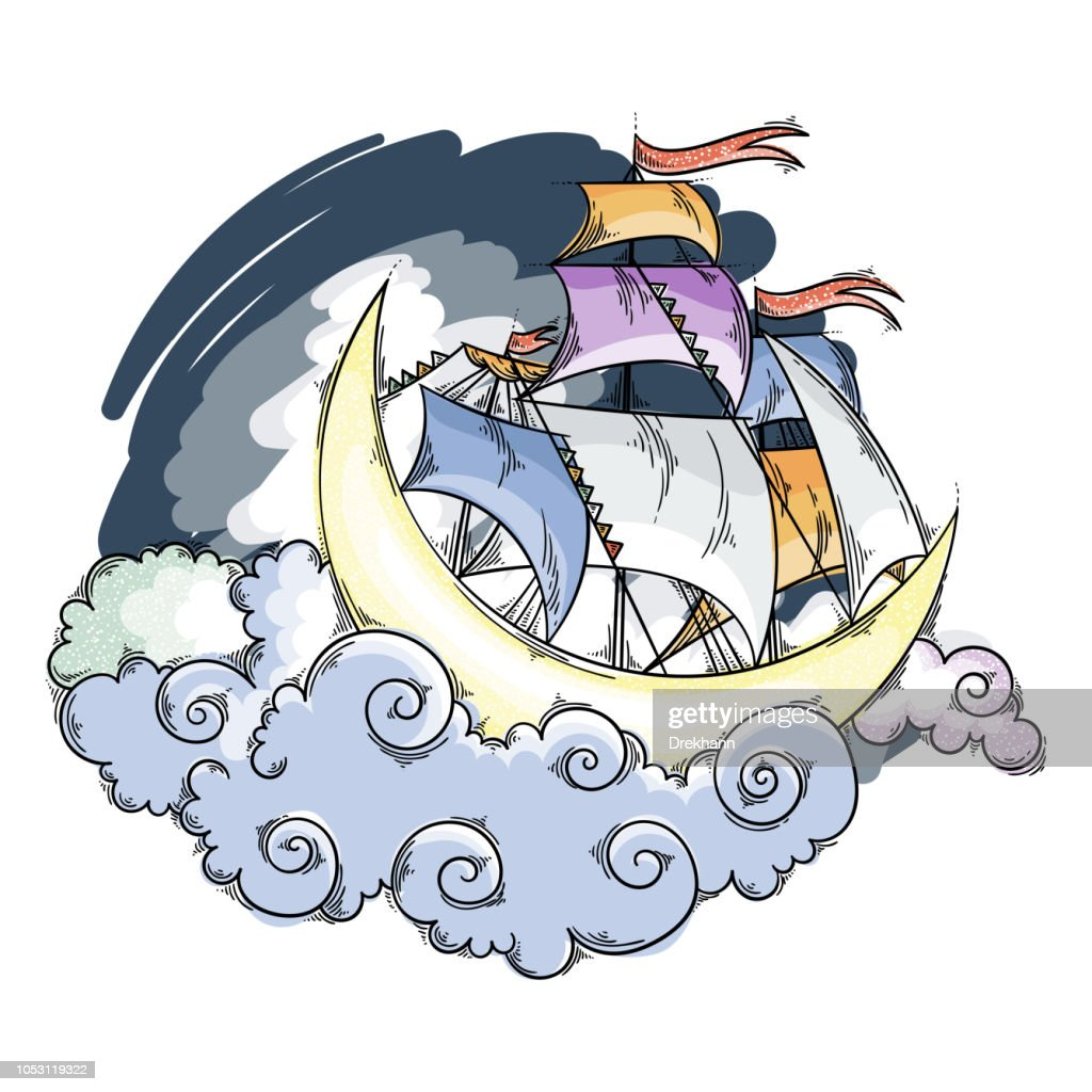 Magic moon flying ship in clouds above the sky.