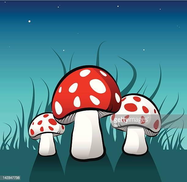 magic mushrooms [vector] - stool stock illustrations, clip art, cartoons, & icons