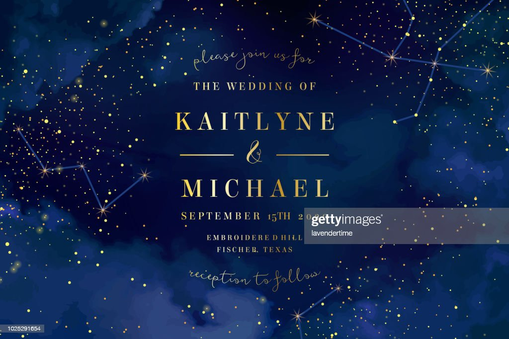 Magic night dark blue sky with sparkling stars vector wedding in