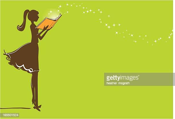 ilustrações, clipart, desenhos animados e ícones de magia de leitura - livraria