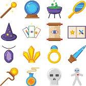 Magic performance decorative icons set magician vector