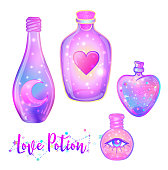 Magic potion: blue bottle jar set with pink moon, crystals, heart, all seeing eye and glowing stars inside. Greeting Card. Vector illustration isolated