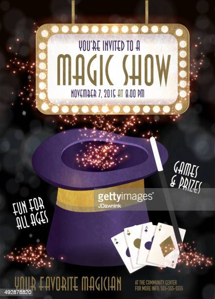 Magic Show entertainment night invitation design template