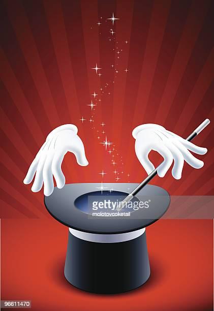 magic show - magic trick stock illustrations, clip art, cartoons, & icons