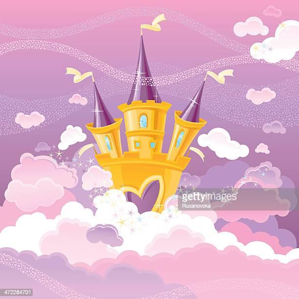 ilustraciones, imágenes clip art, dibujos animados e iconos de stock de magic sky castillo - castillo estructura de edificio